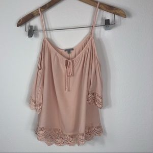 Off should pink blouse top
